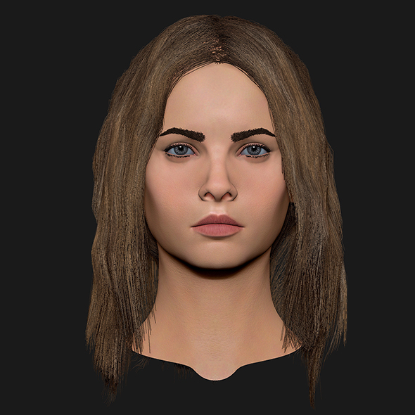 Realistic head cute blonde girl 1 - 3DOcean Item for Sale