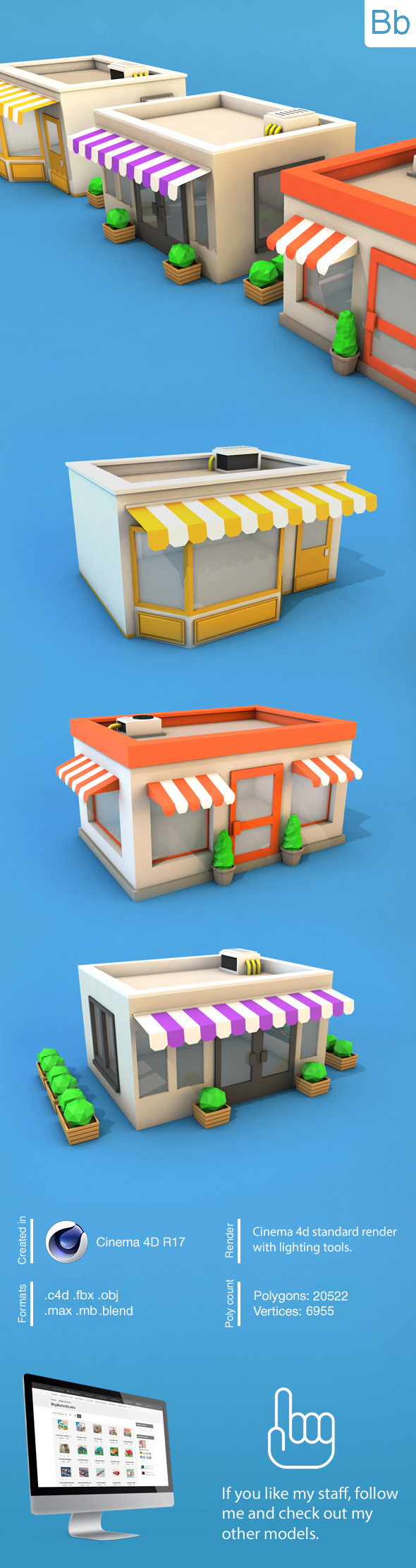 Low Poly Buildings - 3DOcean Item for Sale