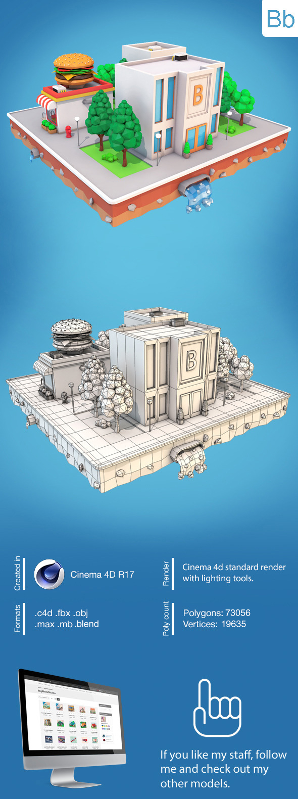 Low Poly City Block - 3DOcean Item for Sale