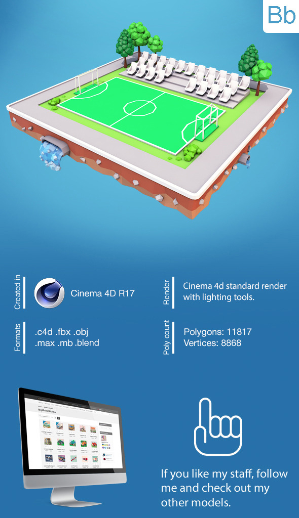 Low Poly Football Field - 3DOcean Item for Sale