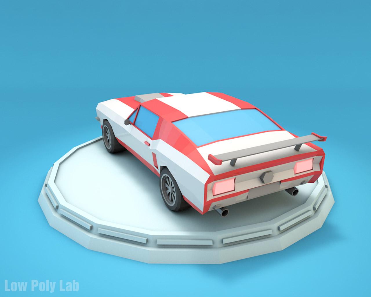 Low Poly Mustang Car By Bigballsstudio 3docean