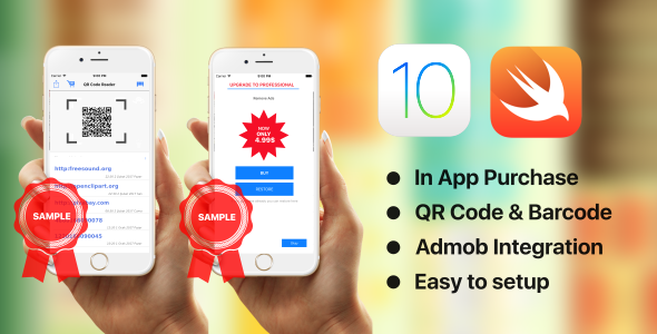 QR Code Reader - Swift 3 - AdMob - In App Purchase - CodeCanyon Item for Sale