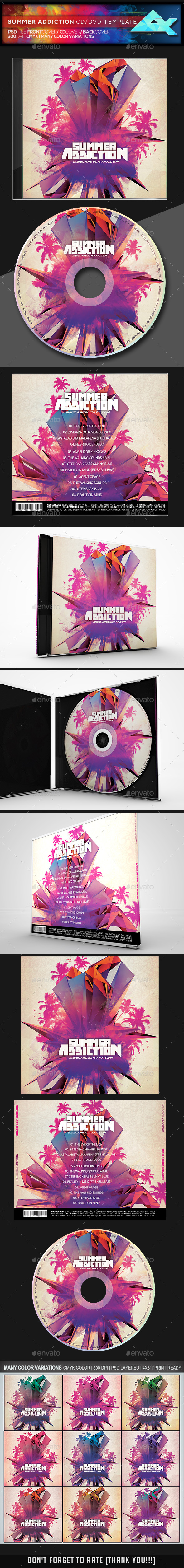 Summer Addiction CD/DVD Template - CD & DVD Artwork Print Templates
