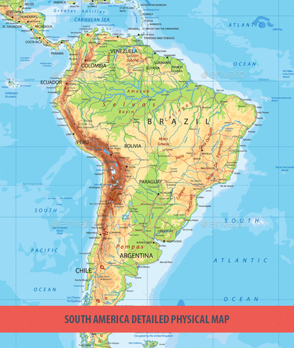 South America Detailed Physical Map by Cartarium GraphicRiver