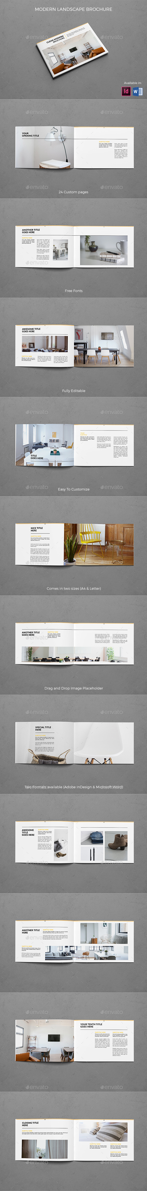Landscape Clean Modern Brochure - Brochures Print Templates