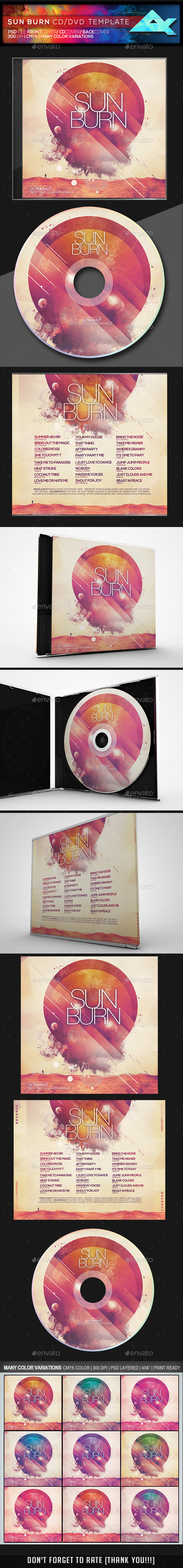 Sun Burn CD/DVD Template - CD & DVD Artwork Print Templates