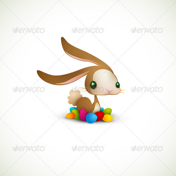 Easter Bunny with Colored Eggs - Seasons/Holidays Conceptual