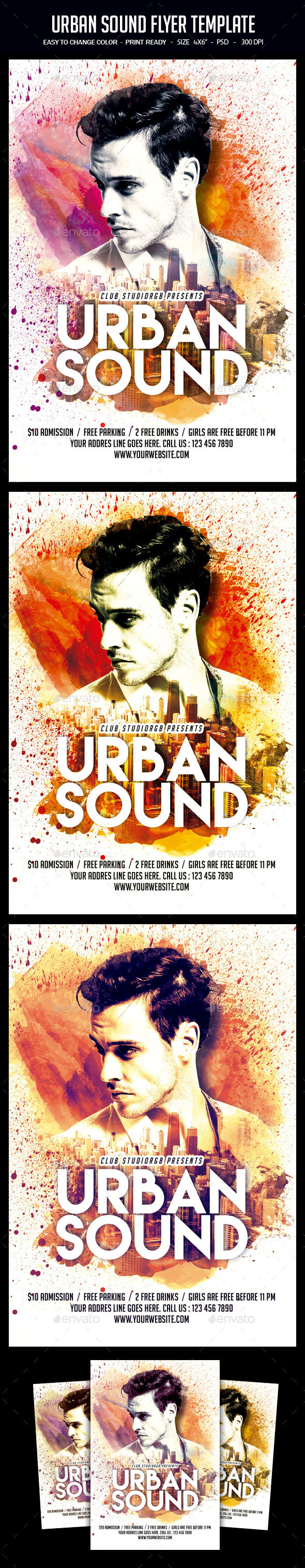 Urban Sound Flyer Template - Clubs & Parties Events