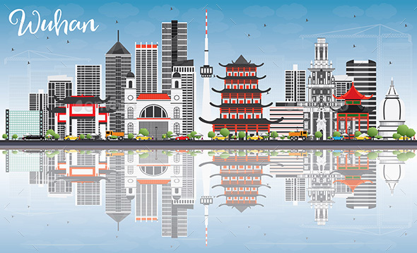 Wuhan Skyline with Gray Buildings, Blue Sky and Reflections. - Buildings Objects