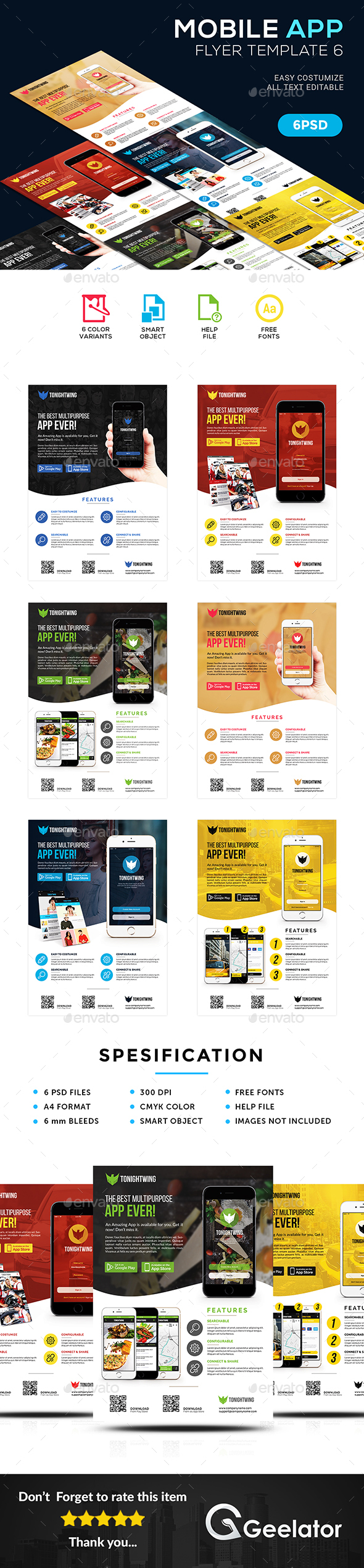 Mobile App Flyer Template 6 - Commerce Flyers
