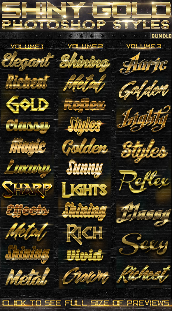 Shiny Gold Photoshop Styles [BUNDLE] - Text Effects Actions