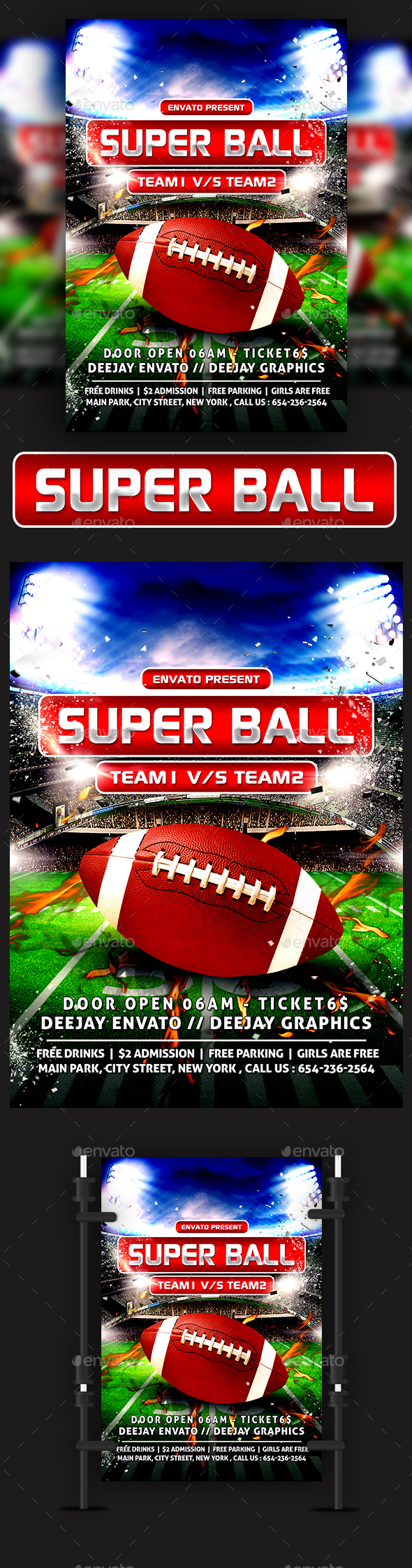 American Football Super Ball Flyer - Sports Events