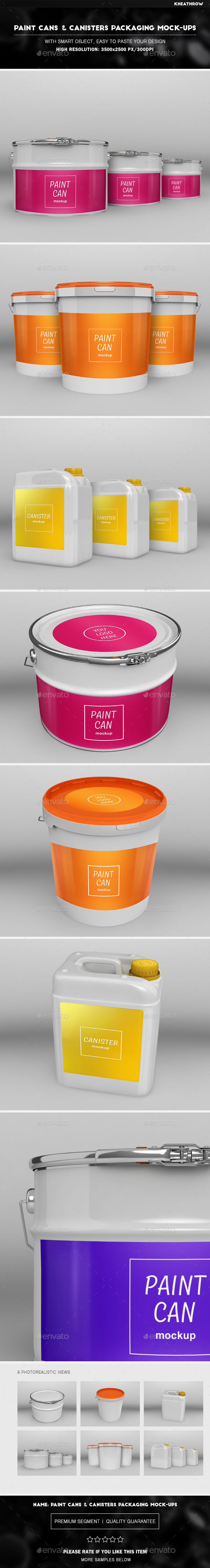 Paint Cans and Canisters Packaging Mock-Ups - Miscellaneous Packaging