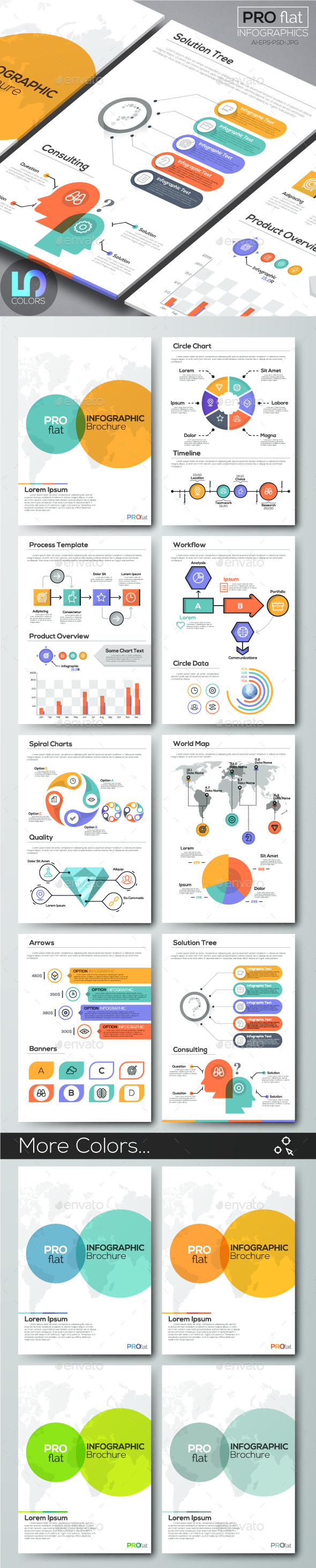 Pro Flat Infographic Brochure. Set 9 (5 Colors) - Infographics