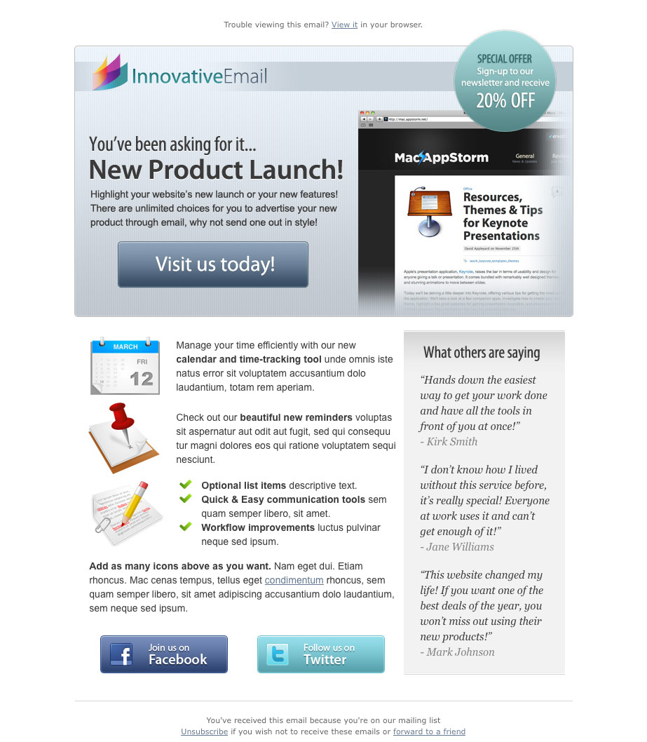 Old fashioned product launch email template component for New product launch email template