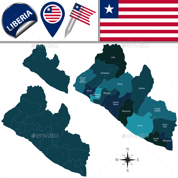 Map of Liberia with Named Counties - Travel Conceptual