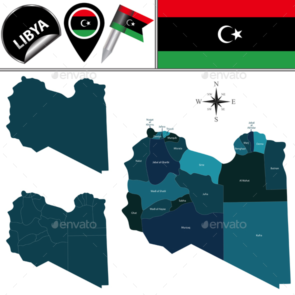Map of Libya with Named Districts - Travel Conceptual