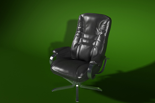 armchair_black_leather_render_setup - 3DOcean Item for Sale