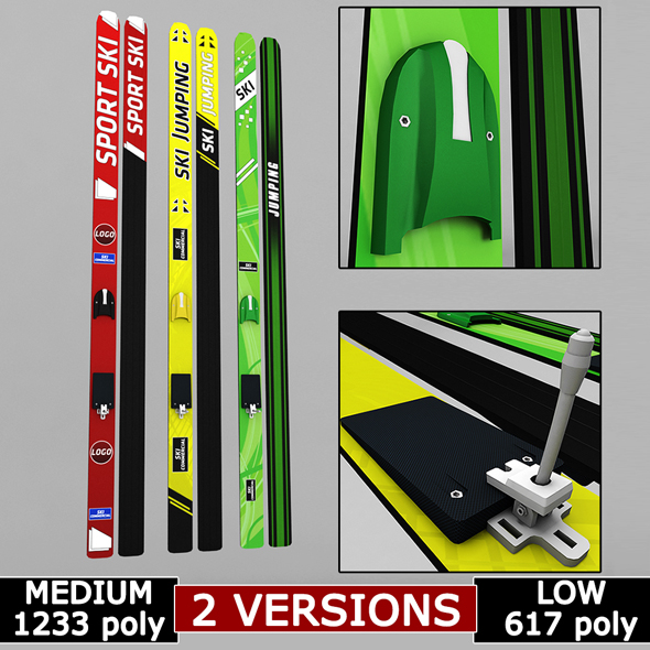 Ski jumping winter skis low poly - 3DOcean Item for Sale