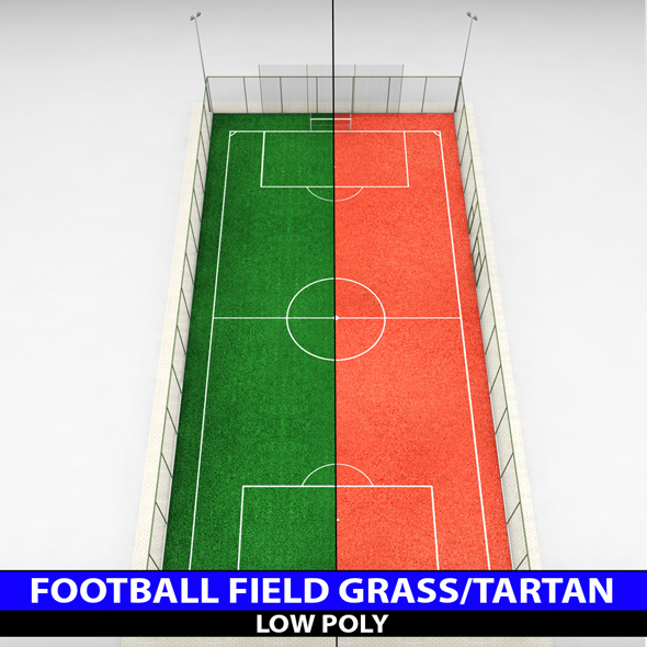 Football soccer stadium field low poly - 3DOcean Item for Sale