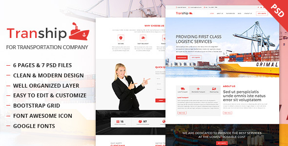 Tranship - Shipping / Logistics / Transportation / Business PSD Template - Business Corporate