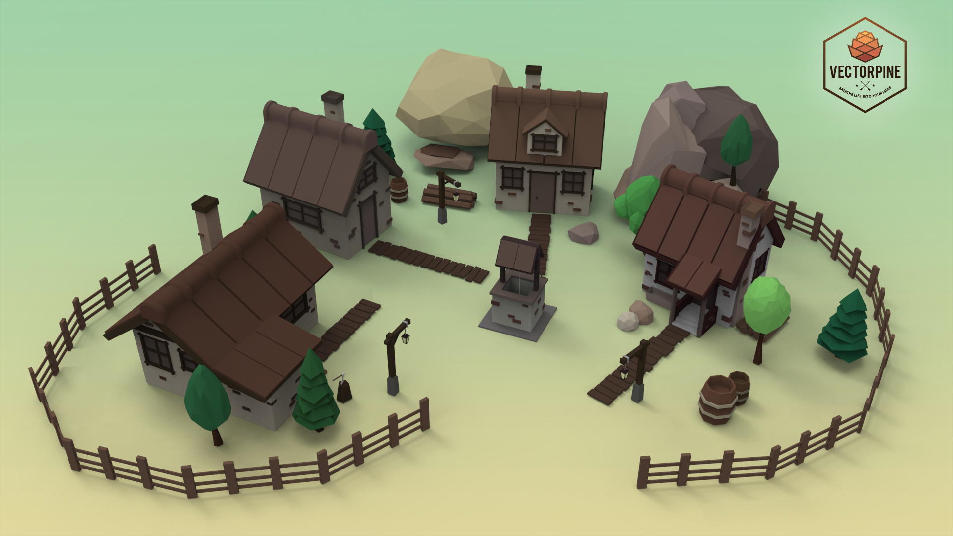 Low Poly Mountain Village By Vectorpine 3docean