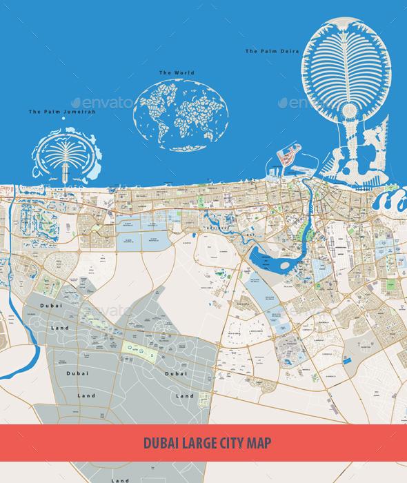 Dubai Large City Map - Travel Conceptual