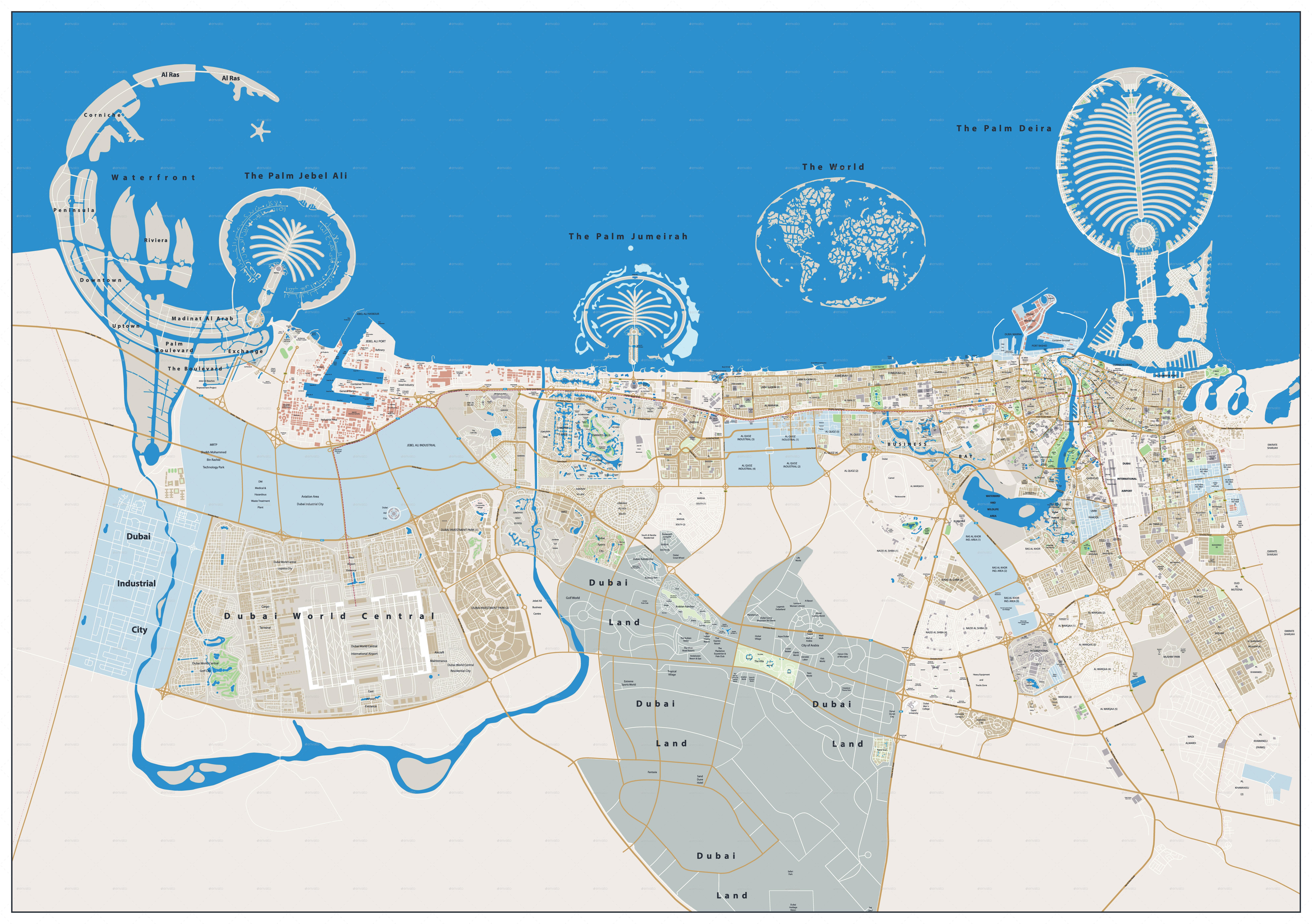 Dubai Large City Map