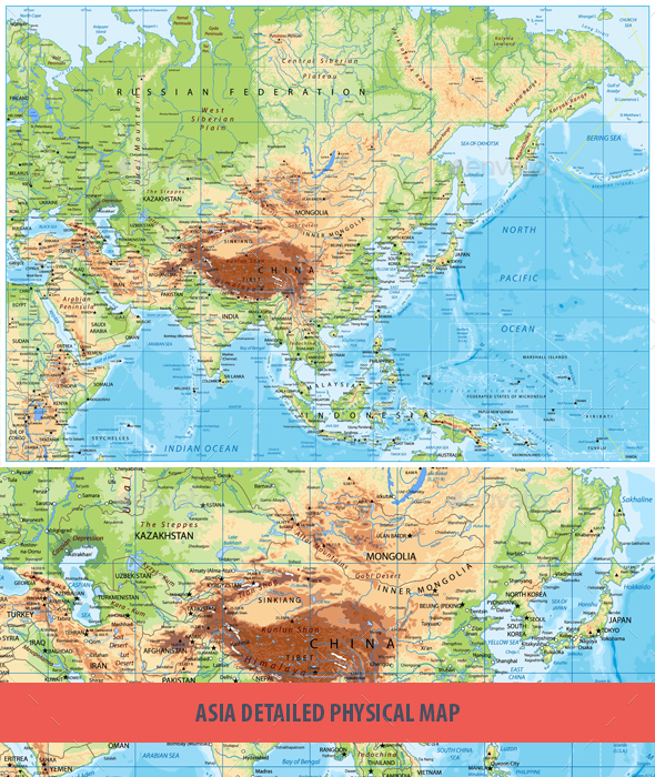 Detailed Physical Map of Asia - Travel Conceptual