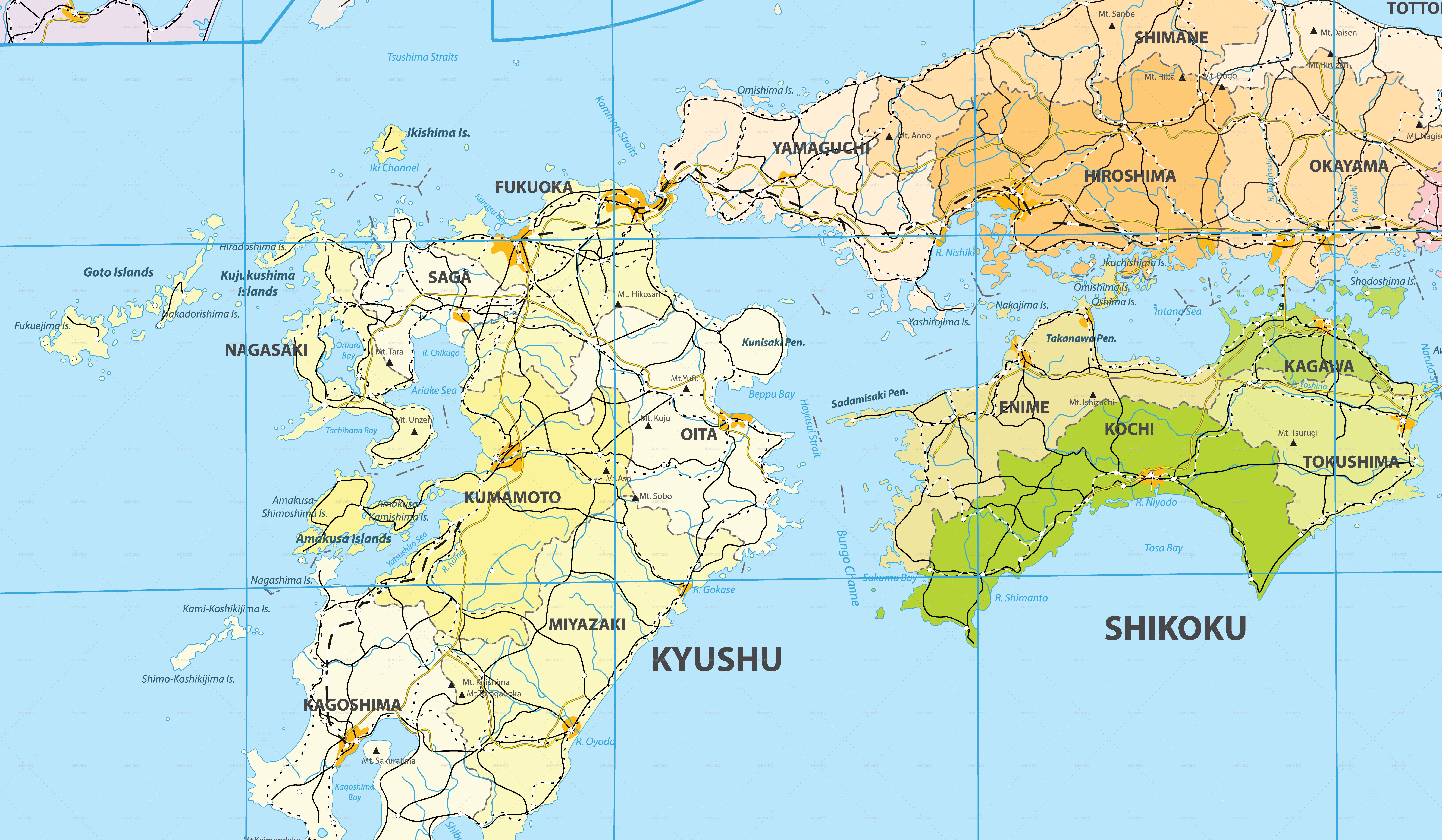 Large Detailed Map Of Japan By Cartarium GraphicRiver - Japan map beppu