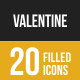 Valentine Filled Low Poly B/G Icons - GraphicRiver Item for Sale