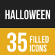 Halloween Filled Low Poly B/G Icons - GraphicRiver Item for Sale