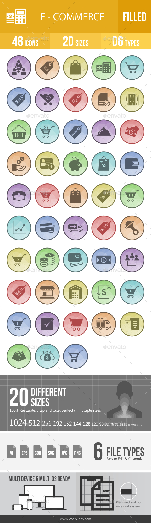 Ecommerce Filled Low Poly B/G Icons - Icons