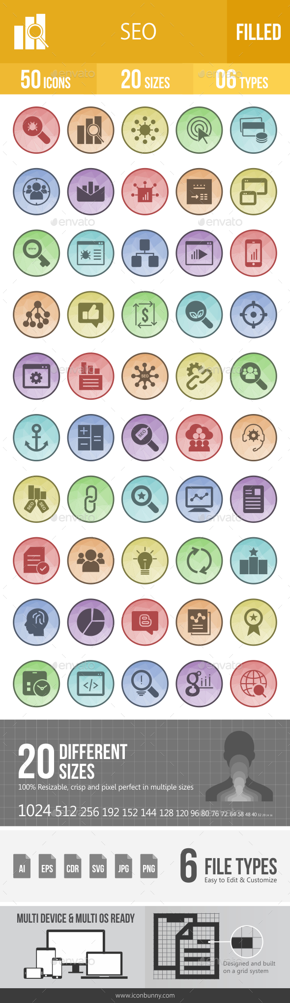 SEO Filled Low Poly B/G Icons - Icons