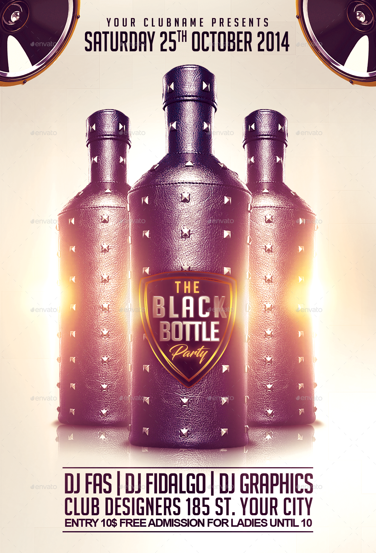 black bottle party flyer template by fas