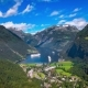 Geiranger Fjord, Beautiful Nature Norway Aerial Footage.