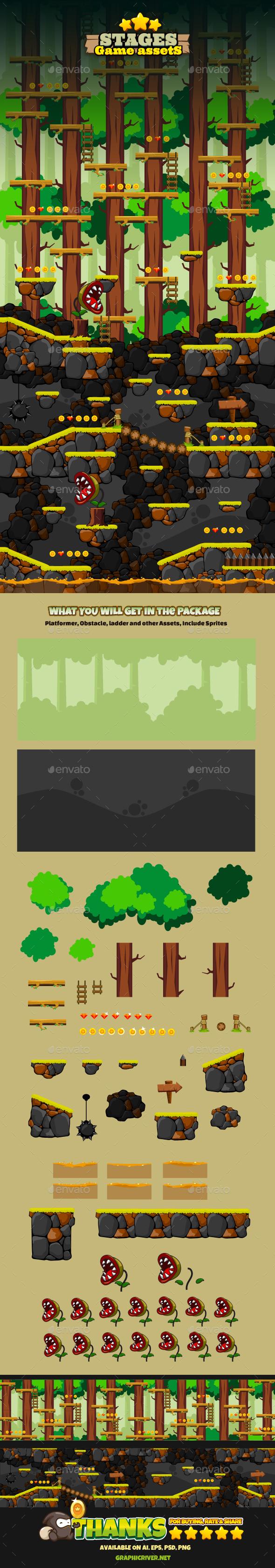 Game Stages v04 - Backgrounds Game Assets