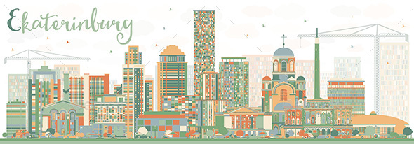 Abstract Ekaterinburg Skyline with Color Buildings. - Buildings Objects