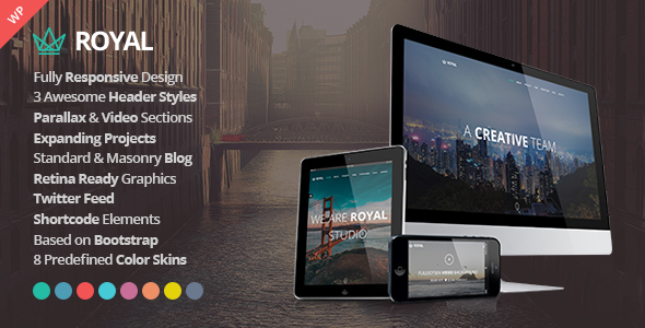 Royal – Responsive One Page Parallax WordPress Theme