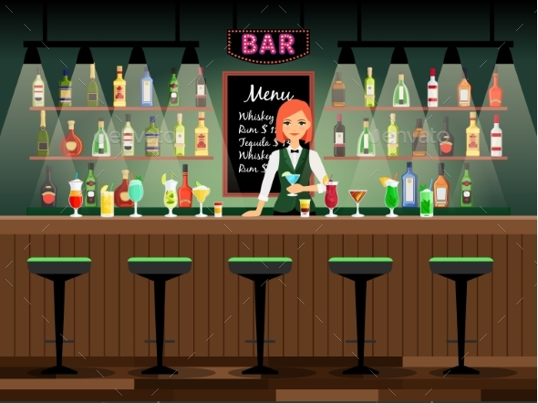 Bar Counter with Bartender Lady - People Characters