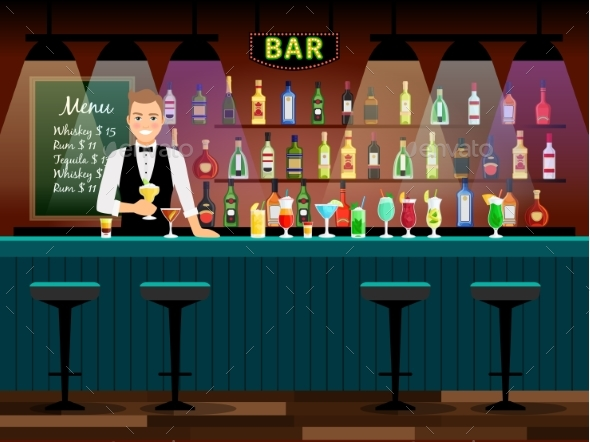 Bar Counter with Bartender - People Characters
