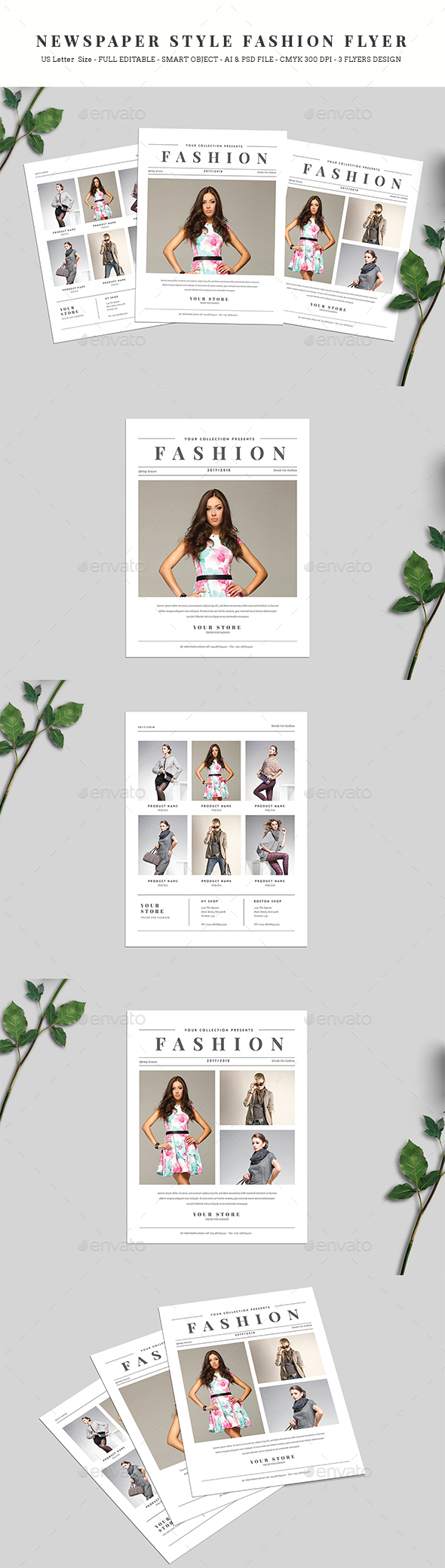 Newspaper Style Fashion Flyer - Commerce Flyers