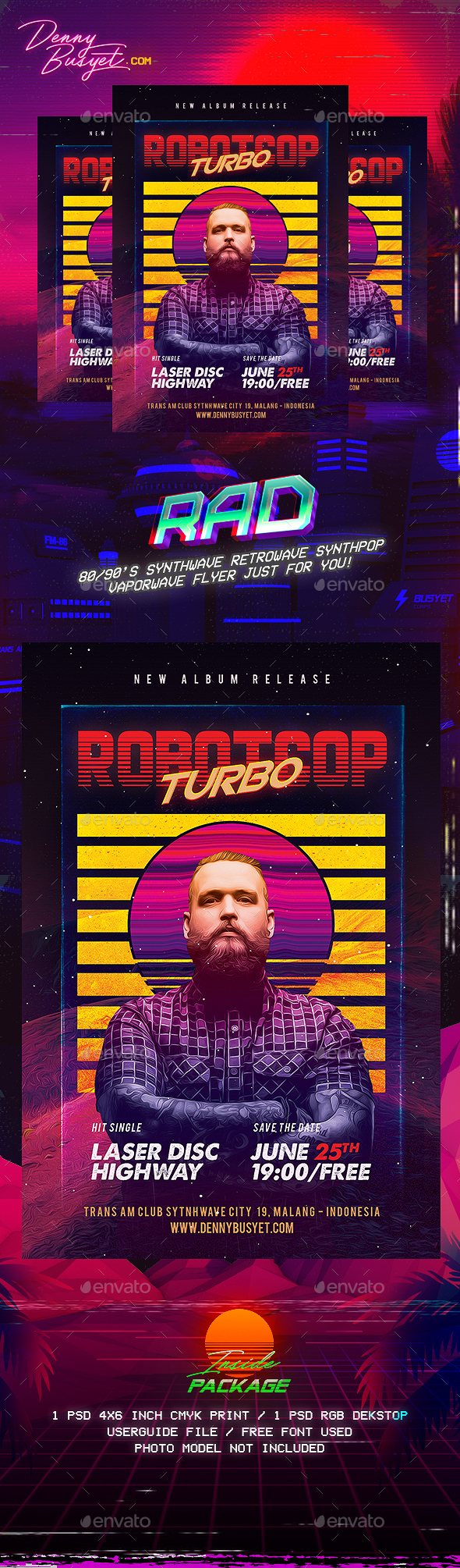 Robotcop Turbo Retro 80's Synthwave Flyer - Events Flyers