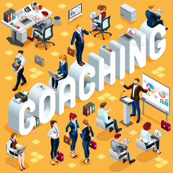 Coaching Isometric People 3D Set Vector Illustration - Vectors