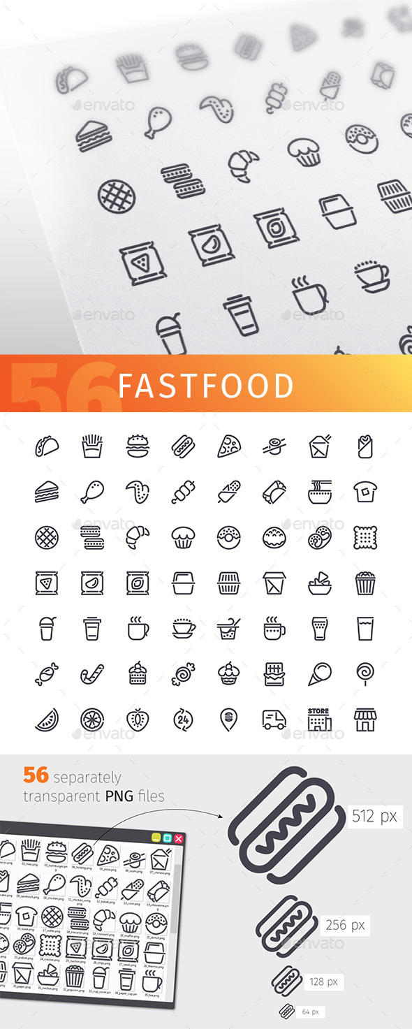 Fastfood Line Icons Set - Food Objects