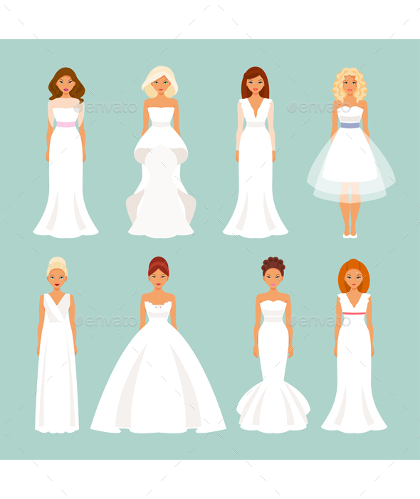 Set Of Brides In Wedding Dresses - People Characters