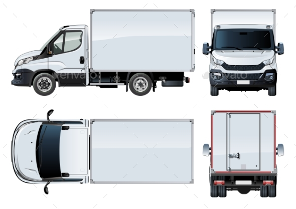 Truck Template Isolated on White - Man-made Objects Objects