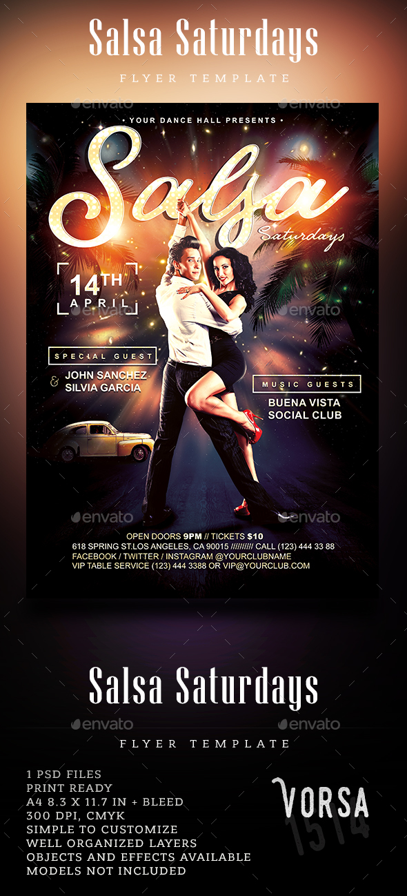 Salsa Saturdays Flyer - Clubs & Parties Events