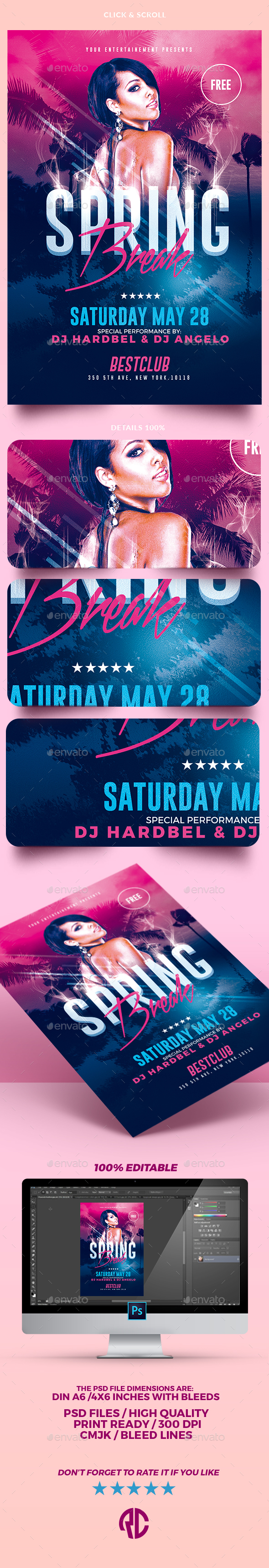 Spring Break Party | Psd Template - Events Flyers