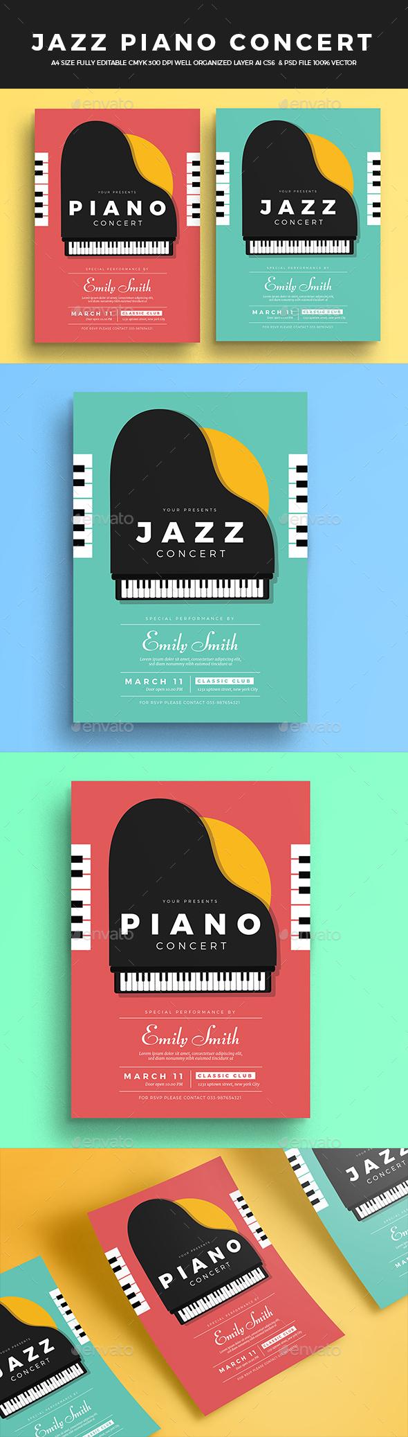 Jazz Piano Concert Flyer - Concerts Events